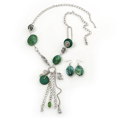 Long Green Resin Nugget Tassel Necklace and Earring Set In Silver Tone - 78cm Length (5cm extension) - main view