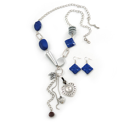 Long Blue Resin Nugget Tassel Necklace and Earring Set In Silver Tone - 78cm Length (5cm extension)