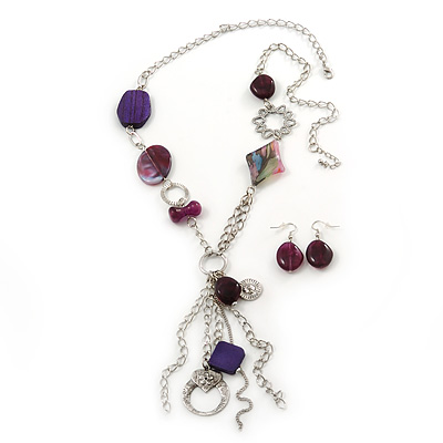 Long Purple Resin and Wood Nugget Tassel Necklace and Earring Set In Silver Tone - 76cm Length (4cm extension) - main view