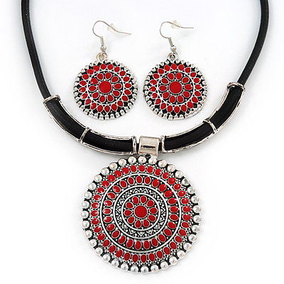 Ethnic Red Enamel Medallion Pendant Necklace On Leather Cord & Drop Earrings Set In Silver Plating - 40cm Length/ 7cm Extension