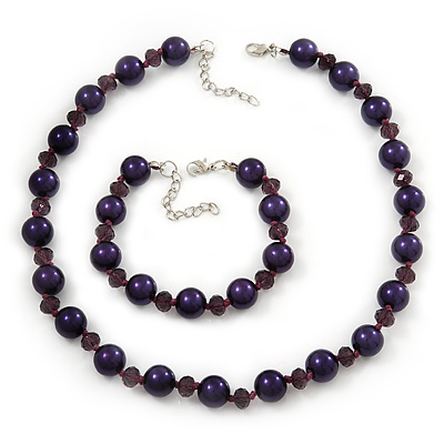 Purple Simulated Glass Pearl Necklace & Bracelet Set In Silver Plating - 38cm Length/ 4cm Extension