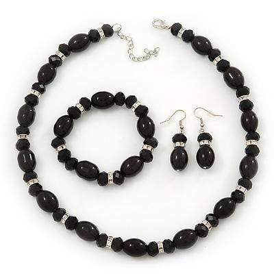 Black Glass/Crystal Bead Necklace, Flex Bracelet & Drop Earrings Set In Silver Plating - 44cm Length/ 5cm Extension - main view
