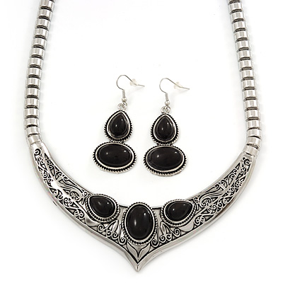 Ethnic Burn Silver Hammered, Black Ceramic Stone Necklace With T-Bar Closure & Drop Earrings Set - 40cm Length