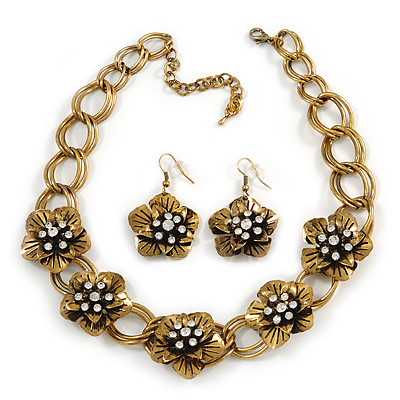 Vintage Diamante Flower Choker Necklace & Drop Earring In Antique Gold Metal - 34cm Length/7cm Extension