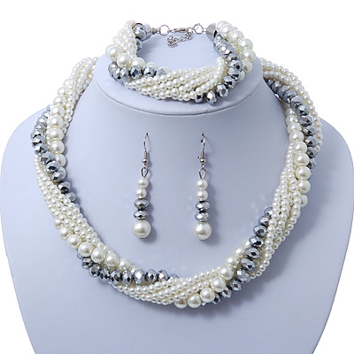 Bridal White, Metallic Grey Simulated Glass Pearl Bead Multi Strand Neckace, Bracelet & Drop Earrings Set In Silver Tone - 34cm Length/ 4cm Extender