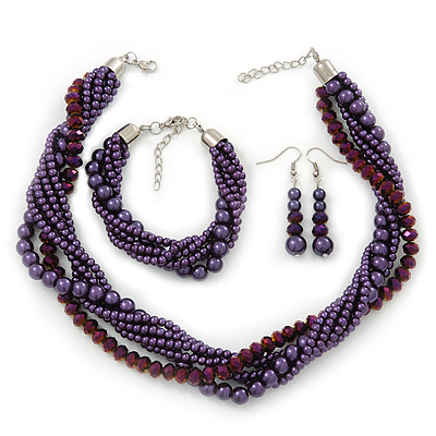 Deep Purple, Metallic Purple Simulated Glass Pearl Bead Multi Strand Neckace, Bracelet & Drop Earrings Set In Silver Tone - 34cm Length/ 4cm Extender