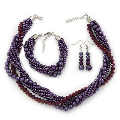 Deep Purple, Metallic Purple Simulated Glass Pearl Bead Multi Strand Neckace, Bracelet & Drop Earrings Set In Silver Tone - 34cm Length/ 4cm Extender