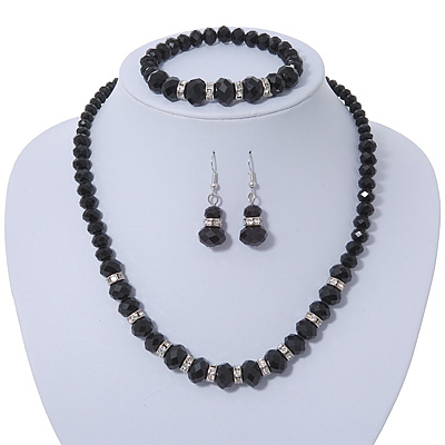 Black Glass Bead Necklace, Flex Bracelet & Drop Earrings Set With Diamante Rings - 38cm Length/ 6cm Extension