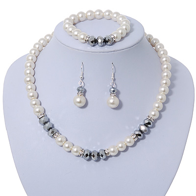 White Simulated Glass Pearl Bead Necklace, Flex Bracelet & Drop Earrings Set With Diamante Rings & Metallic Grey Beads - 38cm Length/ 6cm Extension - main view