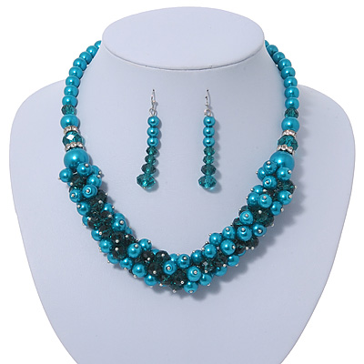 Teal Faux Pearl/ Glass Crystal Cluster Necklace & Drop Earrings Set In Silver Plating - 38cm Length/ 6cm Extender - main view