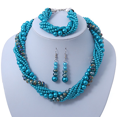 Azure, Metallic Teal Simulated Glass Pearl Bead Multi Strand Neckace, Bracelet & Drop Earrings Set In Silver Tone - 34cm Length/ 4cm Extender