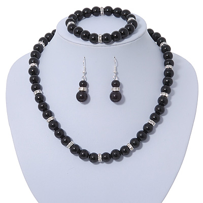 Jet Black Glass Bead Necklace, Flex Bracelet & Drop Earrings Set With Diamante Rings - 40cm Length/ 6cm Extension