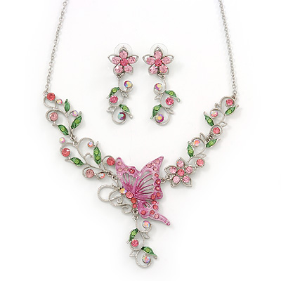 Pink/ Green Austrian Crystal 'Butterfly' Necklace & Drop Earring Set In Rhodium Plating - 40cm Length/ 6cm Extension - main view