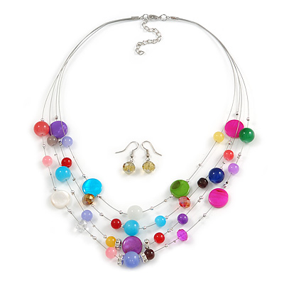 Multicoloured Shell & Crystal Floating Bead Necklace & Drop Earring Set - 52cm Length/ 5cm extension - main view