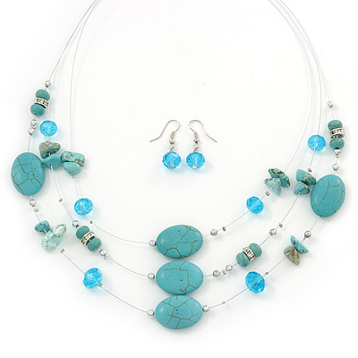 Turquoise & Crystal Floating Bead Necklace & Drop Earring Set - 52cm Length/ 5cm extension)