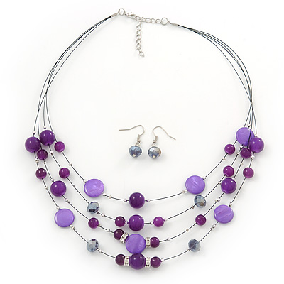 Purple/ Violet Shell & Crystal Floating Bead Necklace & Drop Earring Set - 52cm Length/ 5cm extension