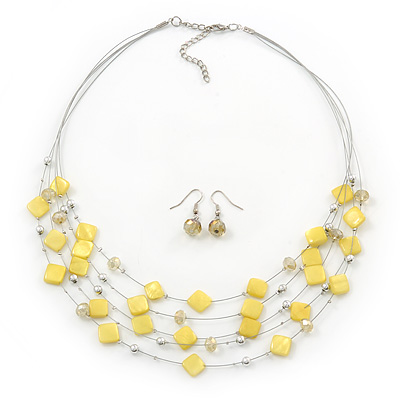 Sandy Yellow Square Shell & Crystal Floating Bead Necklace & Drop Earring Set - 52cm L/ 6cm Ext