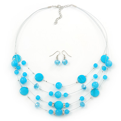 Turquoise Coloured Shell & Crystal Floating Bead Necklace & Drop Earring Set - 52cm Length/ 5cm extension - main view