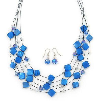 Violet Blue Square Shell & Crystal Floating Bead Necklace & Drop Earring Set - 52cm Length/ 6cm extension
