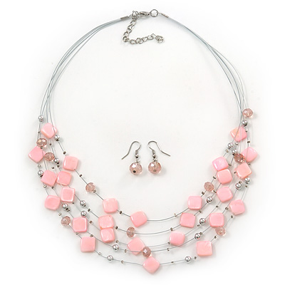 Baby Pink Square Shell & Crystal Floating Bead Necklace & Drop Earring Set - 52cm Length/ 6cm extension - main view