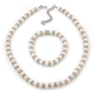 Freshwater Pearl With Crystal Rings Necklace & Flex Bracelet Set In Rhodium Plating - 7mm Simulated Pearl - 40cm Length/ 7cm Extender
