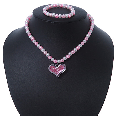 Children's Pink/ White Imitation Pearl Bead Heart Flex Necklace & Flex Bracelet Set