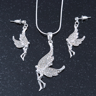 Clear Crystal 'Fairy' Pendant With Silver Tone Snake Chain & Drop Earrings Set - 40cm Length/ 5cm Extension