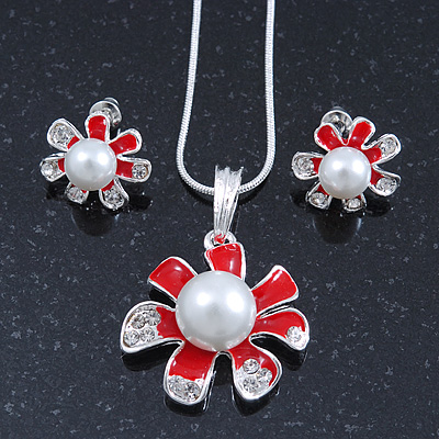 Enamel Red Simulated Pearl, Crystal Flower Pendant With Silver Tone Snake Style Chain & Stud Earrings Set - 40cm Length/ 6cm Extender