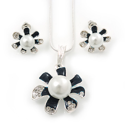 Enamel Dark Blue Simulated Pearl, Crystal Flower Pendant With Silver Tone Snake Style Chain & Stud Earrings Set - 40cm Length/6cm Extender - main view