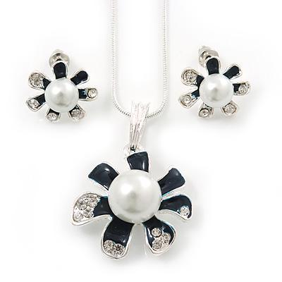 Enamel Dark Blue Simulated Pearl, Crystal Flower Pendant With Silver Tone Snake Style Chain & Stud Earrings Set - 40cm Length/6cm Extender
