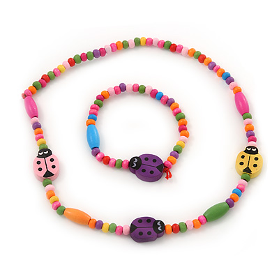 Children's Multicoloured Ladybug Wooden Flex Necklace & Flex Bracelet Set - main view