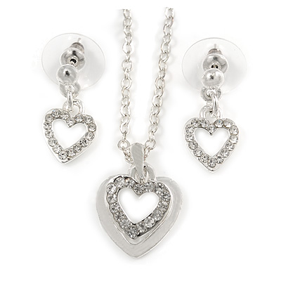 Clear Austrian Crystal Double Heart Pendant With Silver Tone Chain and Stud Earrings Set - 40cm L/ 5cm Ext - Gift Boxed - main view