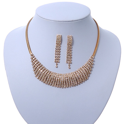 Bridal/ Wedding/ Prom Clear Austrian Crystal Collar Necklace And Drop Earrings Set In Gold Tone - 32cm L/ 7cm Ext