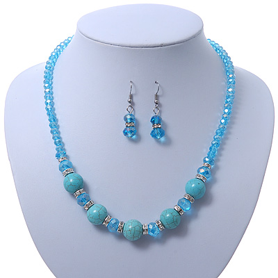 Turquoise, Light Blue Crystal Bead Necklace & Drop Earrings In Silver Tone Metal - 40cm Length/ 4cm Length