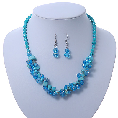 Light Blue Crystal Bead, Turquoise Nugget Cluster Necklace & Drop Earrings Set In Rhodium Plating - 38cm Length/ 6cm Extension