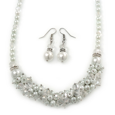 White Simulated Glass Pearls & Transparent Crystal Bead Cluster Necklace & Drop Earrings In Rhodium Plating - 38cm/ 7cm Extension