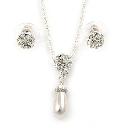 Clear Austrian Crystal Simulated Pearl Pendant with Silver Tone Chain and Stud Earrings Set - 46cm L/ 5cm Ext - Gift Boxed - main view