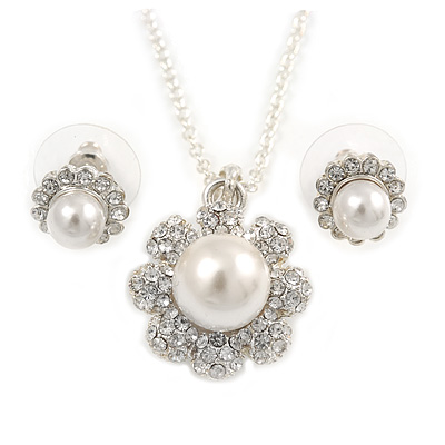 Clear Austrian Crystal Simulated Pearl Flower Pendant With Silver Tone Chain and Stud Earrings Set - 44cm L/ 5cm Ext - Gift Boxed