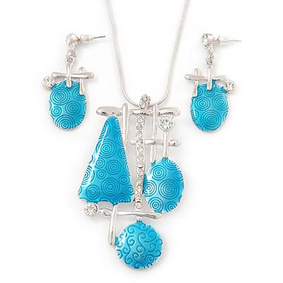 Light Blue Enamel Geometric Pendant Necklace & Drop Earrings Set In Rhodium Plated Metal - 40cm Length/ 7cm extender