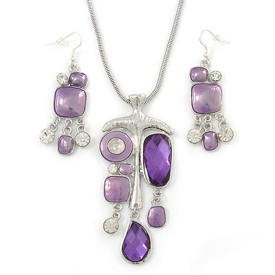 Purple Enamel Geometric Pendant Necklace & Drop Earrings Set In Rhodium Plated Metal - 40cm Length (8cm extender)