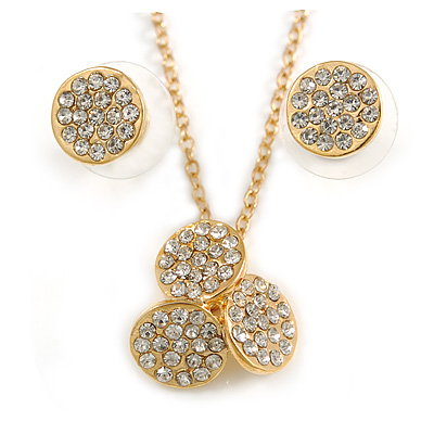 Clear Austrian Crystal Trinity Pendant With Gold Tone Chain and Round Stud Earrings Set - 46cm L/ 5cm Ext - Gift Boxed