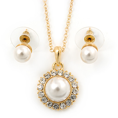 Classic Clear Austrian Crystal Simulated Pearl Pendant With Gold Tone Chain and Stud Earrings Set - 44cm L/ 5cm Ext - Gift Boxed