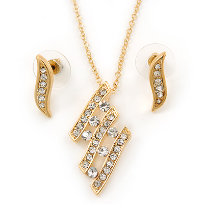 Clear Austrian Crystal Leaf Pendant With Gold Tone Chain and Stud Earrings Set - 40cm L/ 5cm Ext - Gift Boxed