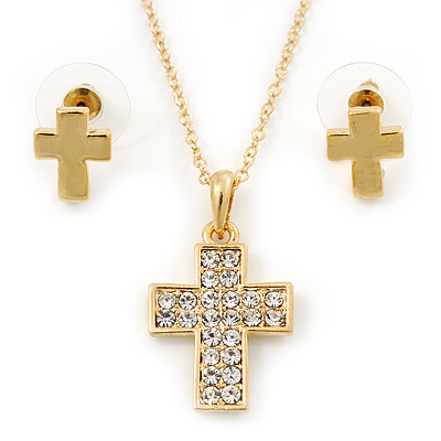 Clear Austrian Crystal Cross Pendant With Gold Tone Chain and Stud Earrings Set - 46cm L/ 5cm Ext - Gift Boxed