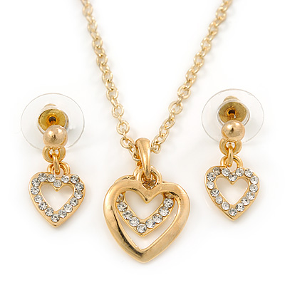 Clear Austrian Crystal Double Heart Pendant With Gold Tone Chain and Stud Earrings Set - 40cm L/ 5cm Ext - Gift Boxed - main view