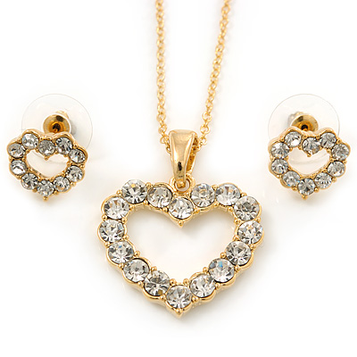 Clear Austrian Crystal Open Cut Heart Pendant With Gold Tone Chain and Stud Earrings Set - 40cm L/ 5cm Ext - Gift Boxed
