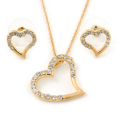 Clear Austrian Crystal Open Cut Heart Pendant With Gold Tone Chain and Stud Earrings Set - 46cm L/ 6cm Ext - Gift Boxed