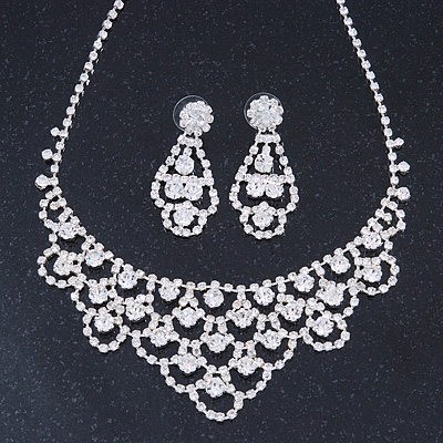 Bridal Clear Crystal 'Lacy' Bib Necklace And Drop Earring Set In Rhodium Plated Metal - 40cm L/ 10cm Ext