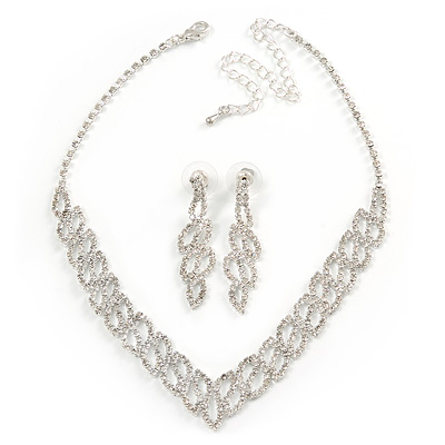 Bridal Clear Crystal V-Shape Necklace & Drop Earring Set In Silver Tone Metal - 34cm L/ 11cm Ext