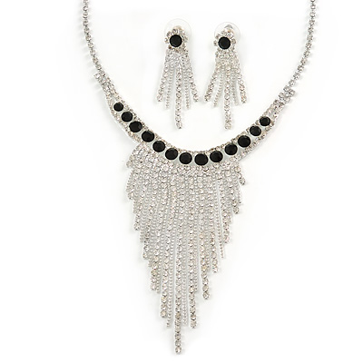 Statement Bridal Clear/ Black Crystal Fringe Necklace & Earrings Set In Silver Tone Metal - 35cm L/ 12cm Ext - main view